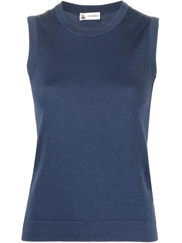 Colombo lurex knit vest in blue