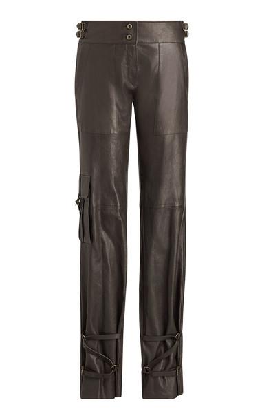 Ralph Lauren Kaiya Straight-Leg Leather Pants Size: 4 in brown