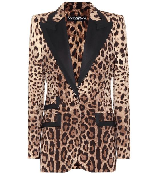Dolce & Gabbana Leopard-print wool-blend blazer in brown