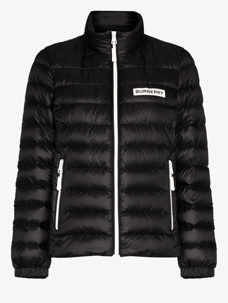 Burberry chest logo puffer jacket in black