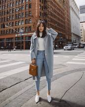 jeans,high waisted jeans,cropped jeans,mules,brown bag,blue coat,white sweater