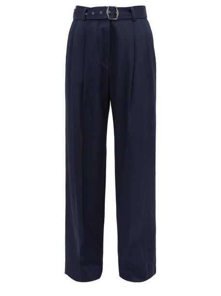 Sies Marjan - Blanche Topstitched Wide Leg Trousers - Womens - Navy