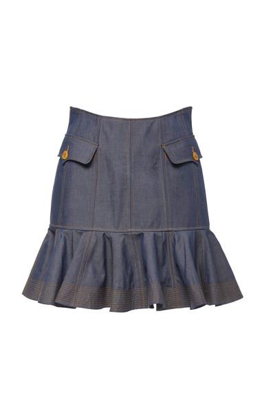 Acler Delton Flare Denim Mini Skirt Size: 2 in blue
