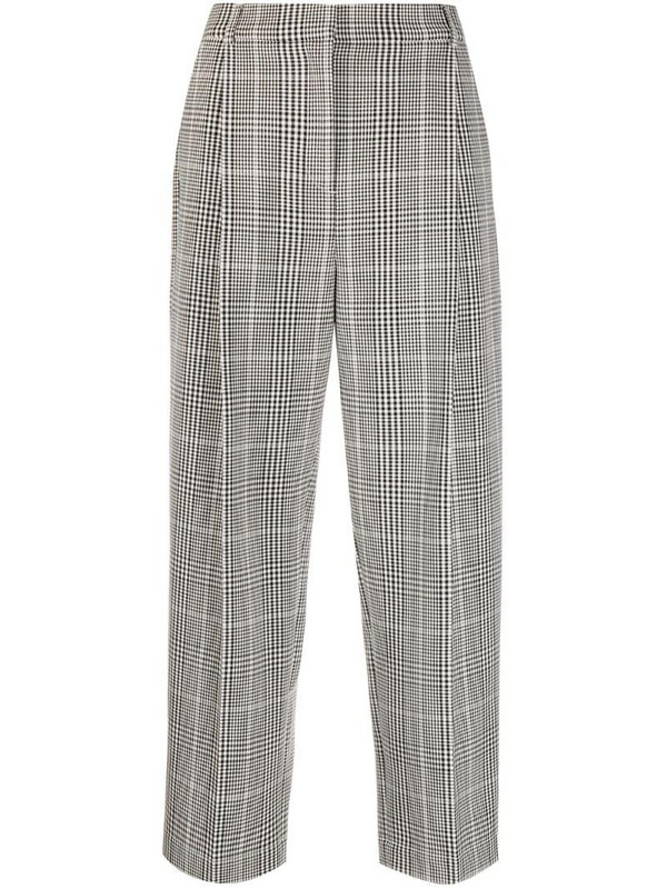 YMC checked straight-leg trousers in white