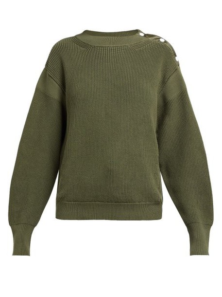 Moncler - Button Trim Ribbed Knit Cotton Sweater - Womens - Dark Green