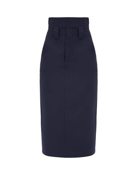 Fendi - High-waist Wool-gabardine Pencil Skirt - Womens - Blue