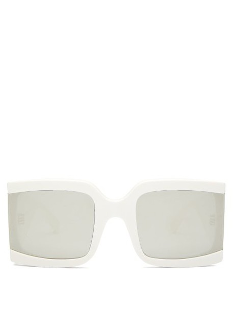 Celine Eyewear - Oversized Reflective Acetate Sunglasses - Womens - Ivory