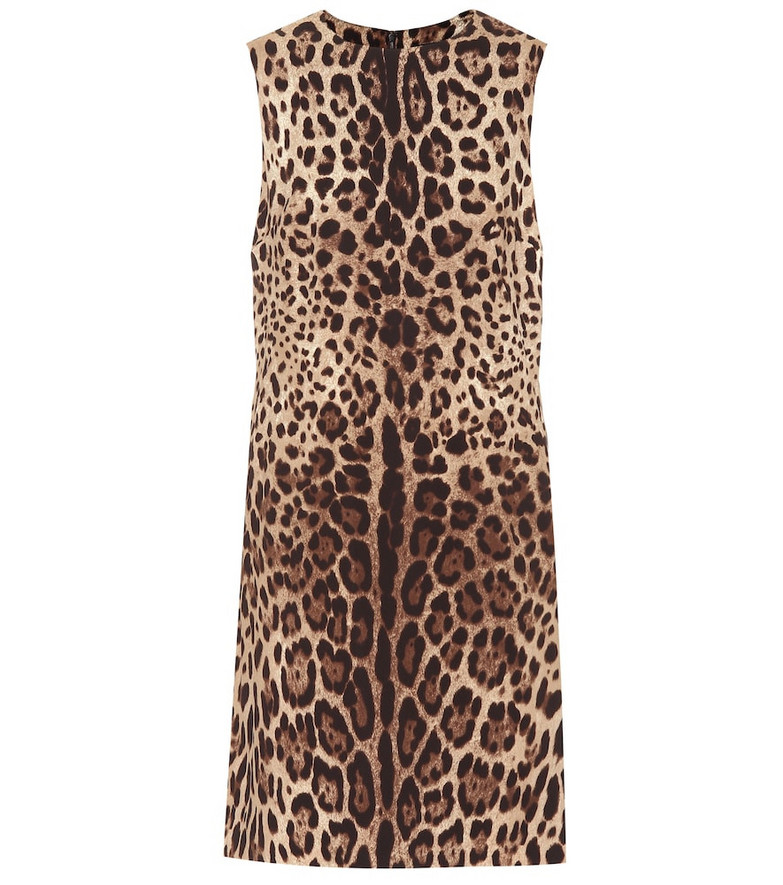 Dolce & Gabbana Leopard-print silk-cady minidress in brown
