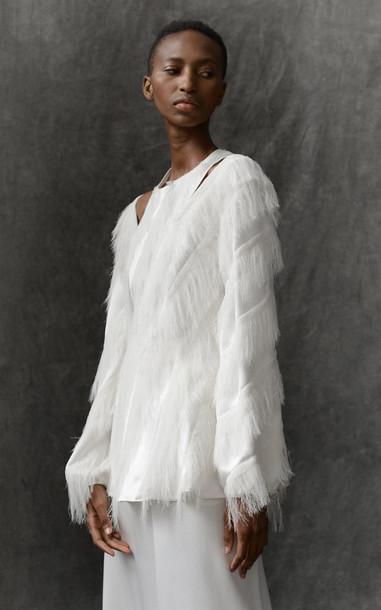 Maison Rabih Kayrouz Fringe Satin Top Size: 34 in white