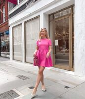 dress,pink dress,short dress,mules,dior bag