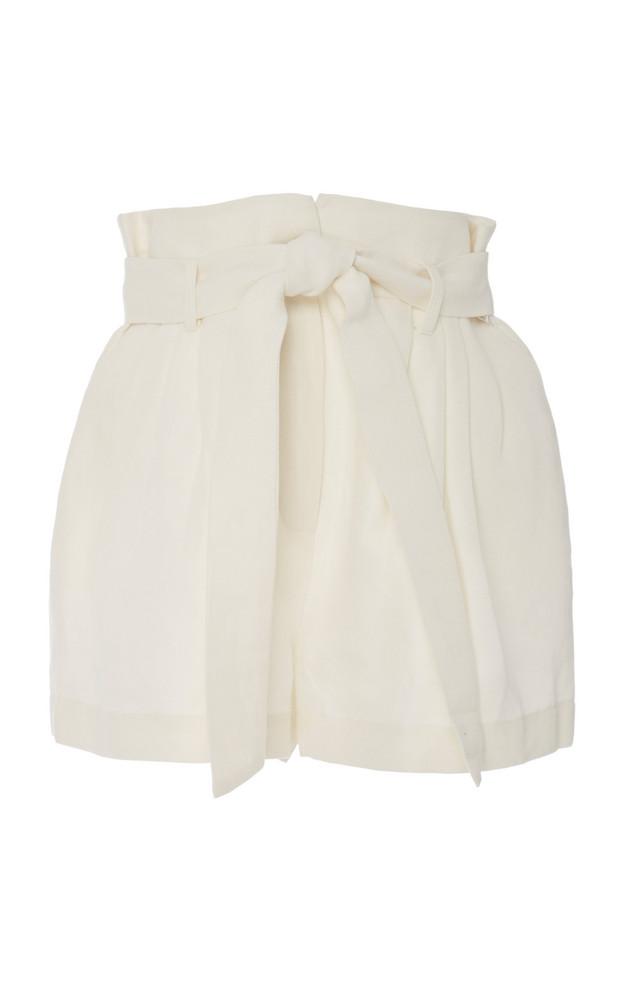 FRAME Belted Linen-Blend Shorts in white