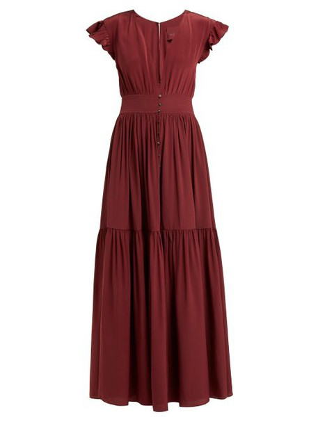 Loup Charmant - Mayette Plunge Neck Silk Dress - Womens - Burgundy
