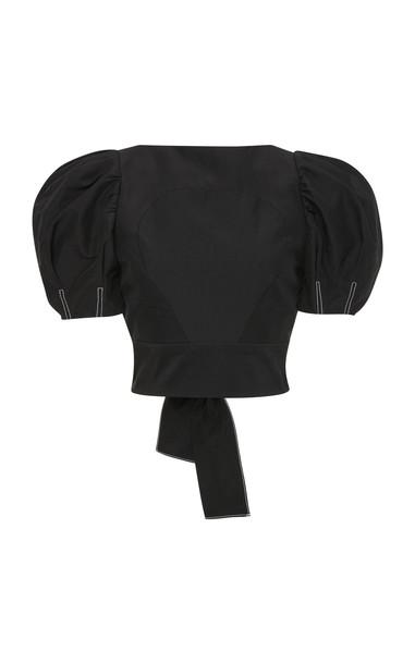 Rachel Gilbert Cher Cotton-Blend Sleeve Top Size: 0 in black