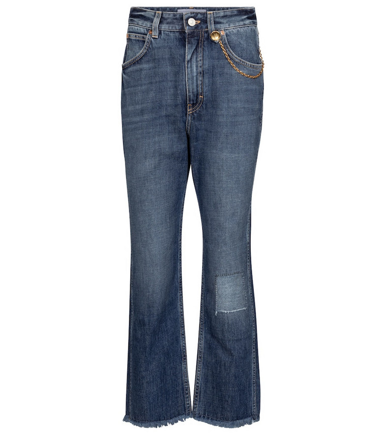Givenchy Chain-trimmed cropped straight jeans in blue