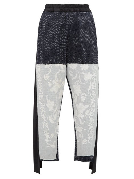 By Walid - Sally Embroidered Wool And Cotton Blend Trousers - Womens - Black White