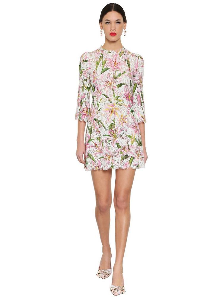 DOLCE & GABBANA Printed Lace Mini Dress in white / multi