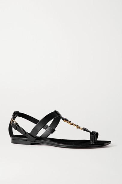 SAINT LAURENT - Cassandra Logo-embellished Leather Sandals - Black