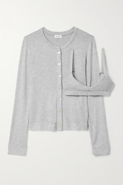 LESET - Lori Brushed Stretch-jersey Cardigan And Bralette Set - Light gray