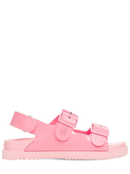 GUCCI 35mm Isla Rubber Sandals W/ Double G in pink