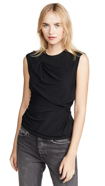 alexanderwang.t Twisted Crepe Jersey Top in black