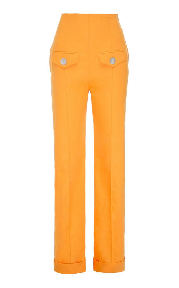 George Keburia High-Rise Straight-Leg Linen Pants in orange