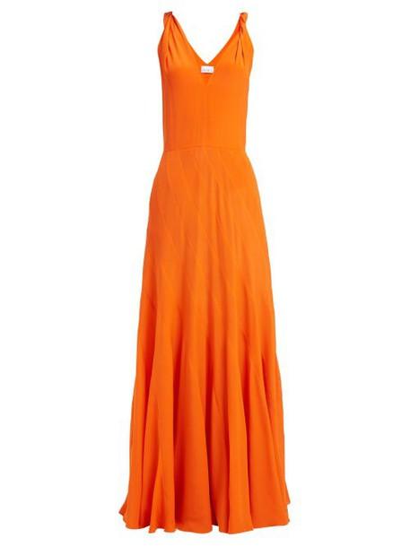 Raey - Multi Seam Twist Strap Silk Dress - Womens - Orange