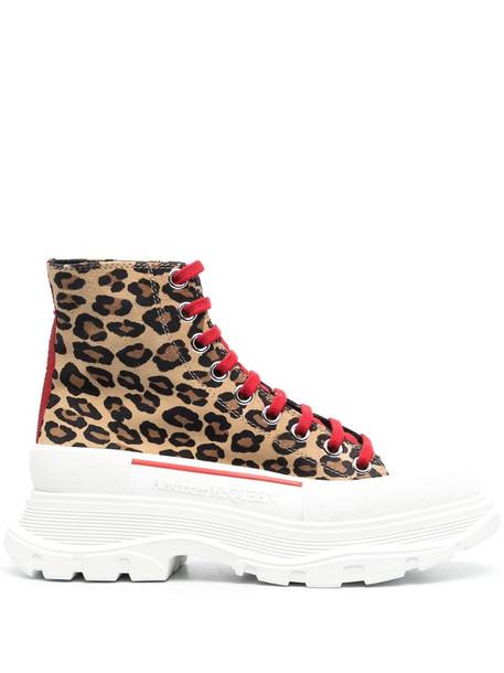 Alexander McQueen Tread Slick leopard print sneakers in neutrals