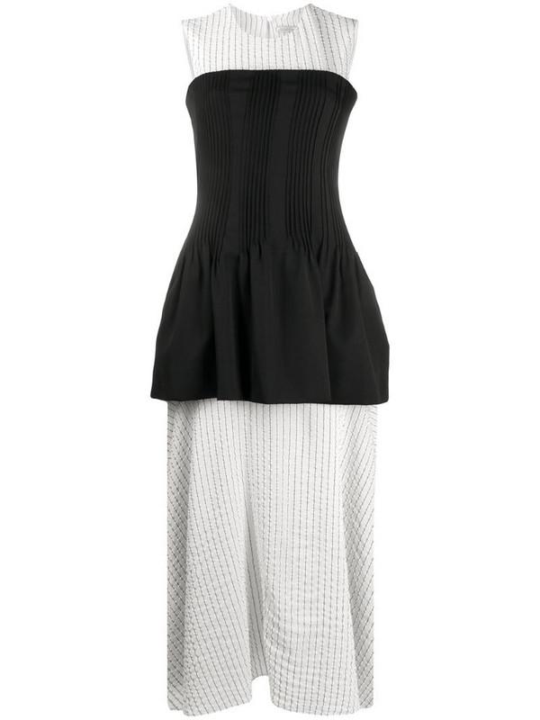 Nina Ricci layered striped-panel dress in white