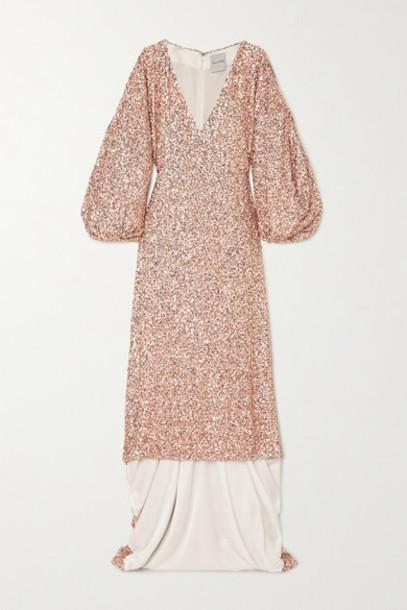 Halpern - Sequined Georgette Gown - Blush