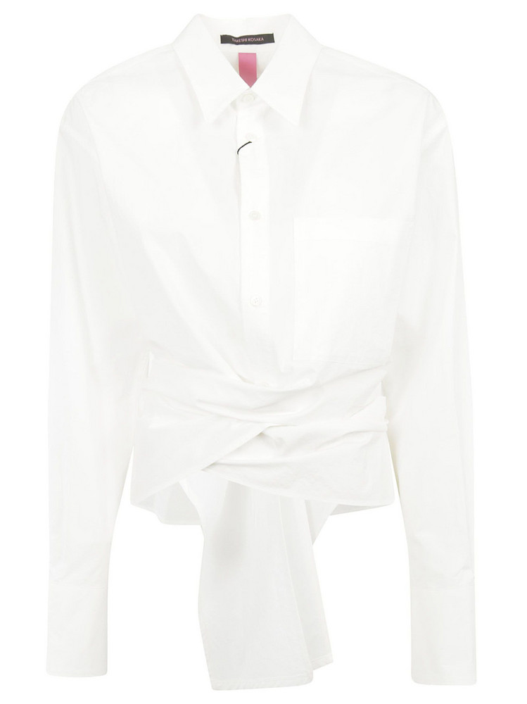 Y's Tied Front Shirt in white