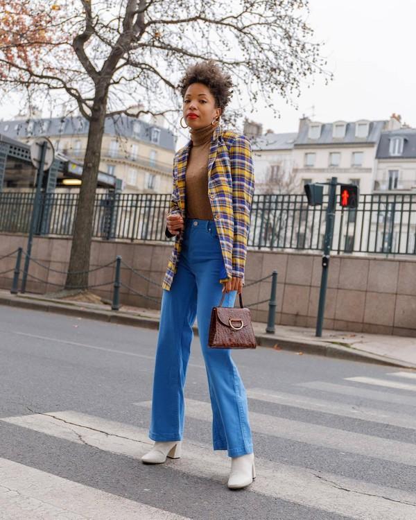 jacket blazer plaid white boots ankle boots blue pants wide-leg pants handbag brown bag turtleneck