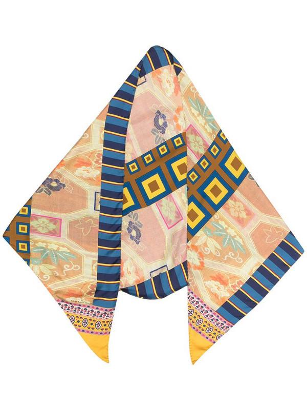 Pierre-Louis Mascia multi-pattern print silk scarf in blue