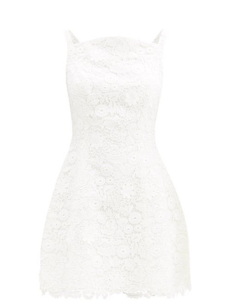 Carolina Herrera - Curved-neck Floral Guipure-lace Mini Dress - Womens - White