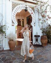 dress,midi dress,sleeveless dress,white sandals,transparent  bag