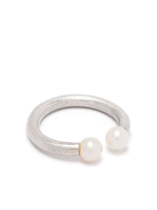 Hsu Jewellery Unfinishing Line double pearl silver ring