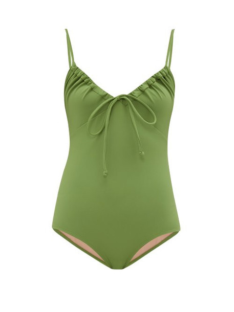 Three Graces London - Cleo Ruched Neckline Jersey Swimsuit - Womens - Green