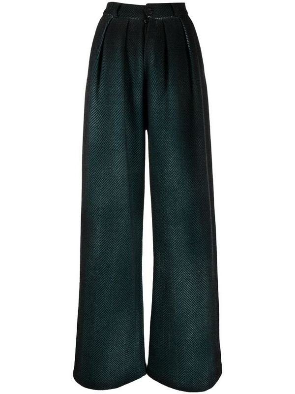 Avant Toi herringbone wide-leg trousers in green