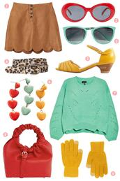 scathingly brilliant,blogger,skirt,sunglasses,belt,shoes,jewels,sweater,bag,gloves,fall outfits,spring outfits,red bag,green sweater