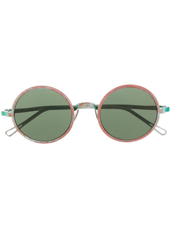 Uma Wang x Rigards distressed round-frame sunglasses in green