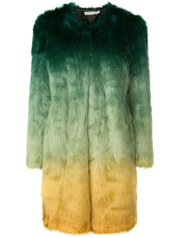 Mary Katrantzou Thalia ombre faux fur coat in green