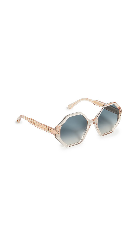Chloe Willow Octagonal Sunglasses in peach