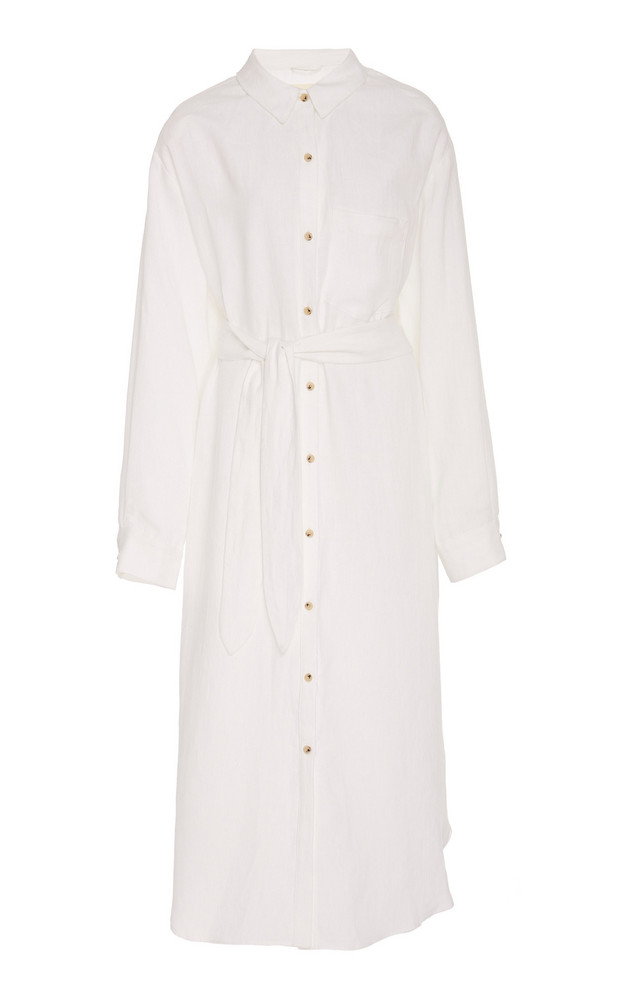 Mara Hoffman Sylvia Belted Linen Midi Dress in white