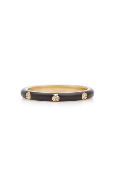 EF Collection 14K Gold and Diamond Enamel Stack Ring in black