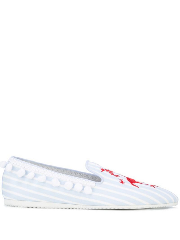 Joshua Sanders unicorn embroidered slip-on loafers in blue