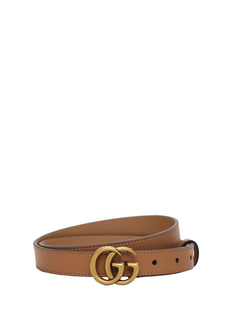 GUCCI 20mm Gg Marmont Leather Belt in natural / tan