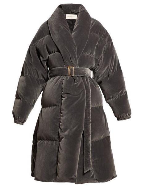 Alexandre Vauthier - Belted Velvet Quilted Coat - Womens - Light Grey