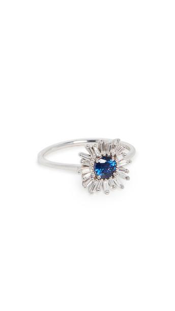 Suzanne Kalan 18k White Gold Dark Blue Sapphire & White Diamond Ring