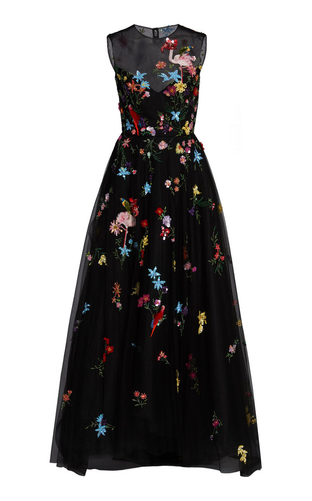 Monique Lhuillier Embroidered Sleeveless Gown in black