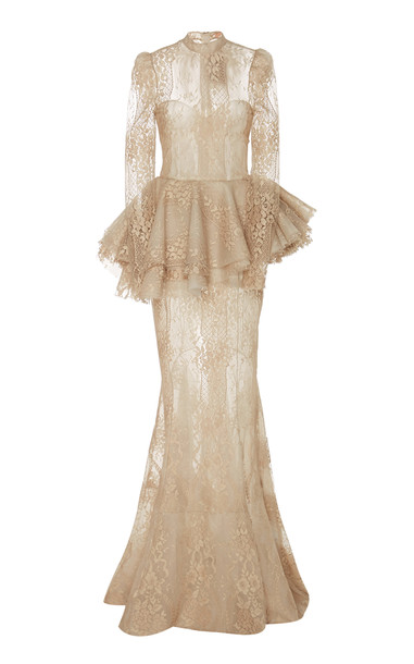 Brock Collection Pomana Sheer Cotton-Lace Peplum Gown Size: 2 in neutral