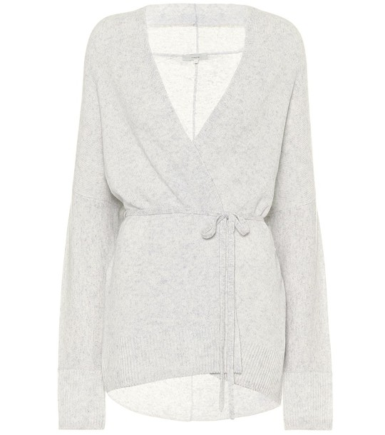 Vince Wool-blend cashmere cardigan in grey